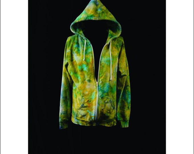 Hand Ice Dyed Hoodie Unisex Zip Sweatshirt Boho Green Yellow L