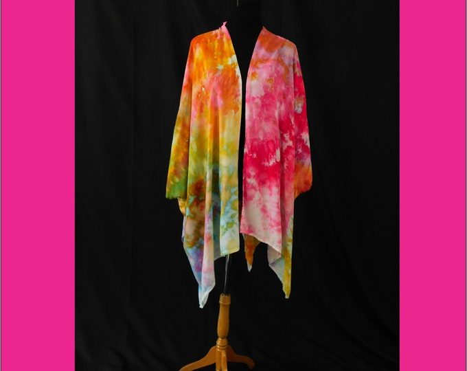 Hand Dyed Ruana Swimsuit Cover-up Pink Yellow Beach Boho