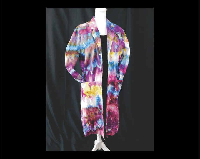 Womans Ice Dye, Hippie Coat Size 12, Purple and Blue Boho Festival Coat, Hand Dyed Maxi Cardigan, Bohemian Cotton Coat, Tie Dye Duster
