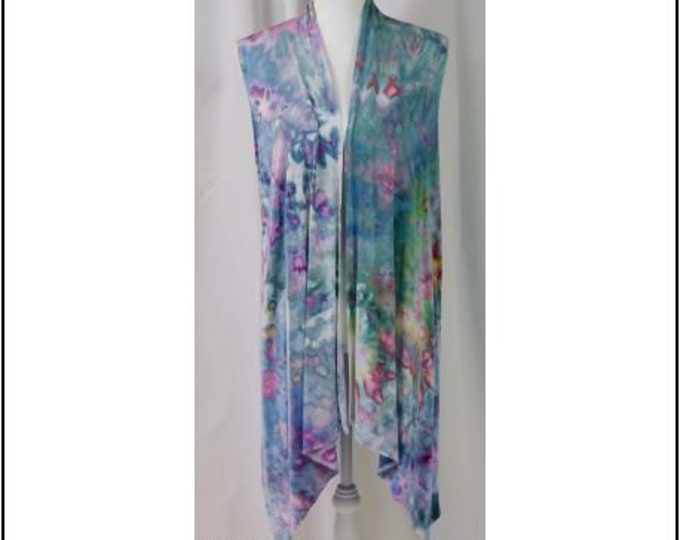 Hand Ice Dyed Cardigan Vest Sleeveless L Colorful Waterfall  Boho Flowing, Beautiful Pastel Pinks,  Greens and Blues Asymmetric  Hem