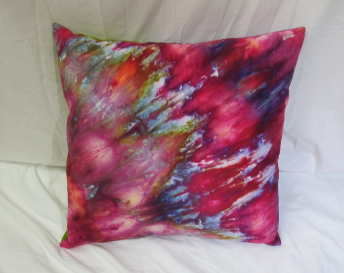 Handdyed pillow cover - Hand Dyed Pillow  - Ice Dyed Pillow - Art pillow - Quilted Pillow - Throw Pillow - Handmade Pillow - Red Dyed Pillow