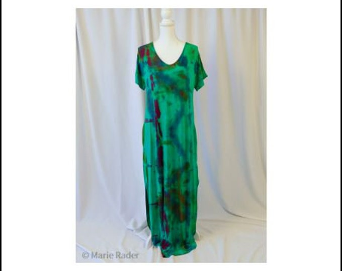 Hand dyed Tajime shibori  Women's Casual Loose Pocket Long Dress Short Sleeve Split Maxi Dress, Beach Cover-up