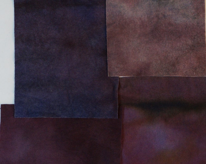 Hand Dyed Felted Wool Fabric with Dark Blue, Purple, Deep Maroon and Dark Pink, Colors  for Quilting, Rug Hooking, Crafting,