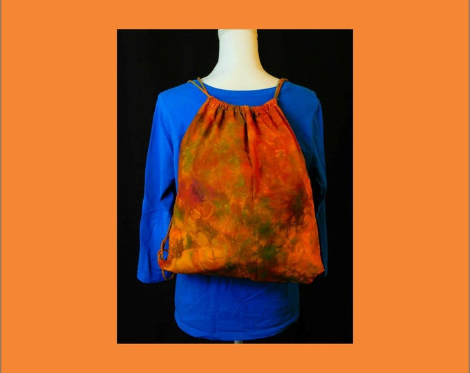 Hand Ice Dyed Overdyed Backpack Drawstring Orange Yellow Green Red