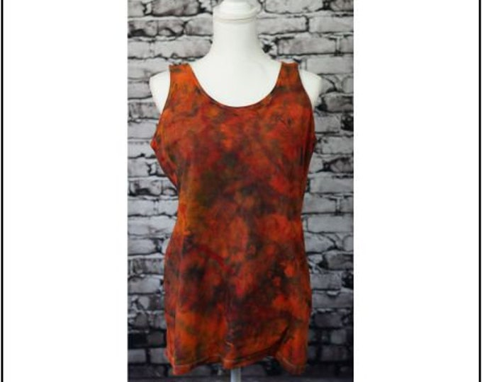 Womens Size L Ice Dye Yoga Top, Fitted ,Tank Top, Deep Orange , Red and Black