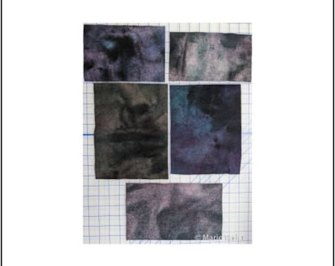 Hand Dyed Felted Wool Fabric with a Variety of Blues, Purple, Deep Maroon and Dark and Light Pink  for Quilting, Rug Hooking, Crafting,