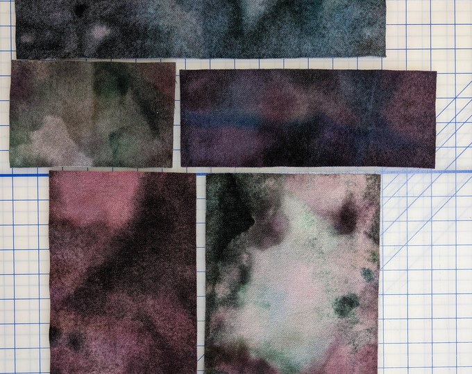 Hand Dyed Felted Wool Fabric with a pallet of Greens Grays Blues Purple Deep Maroon and Dark Light Pink for Quilting Rug Hooking Crafting,