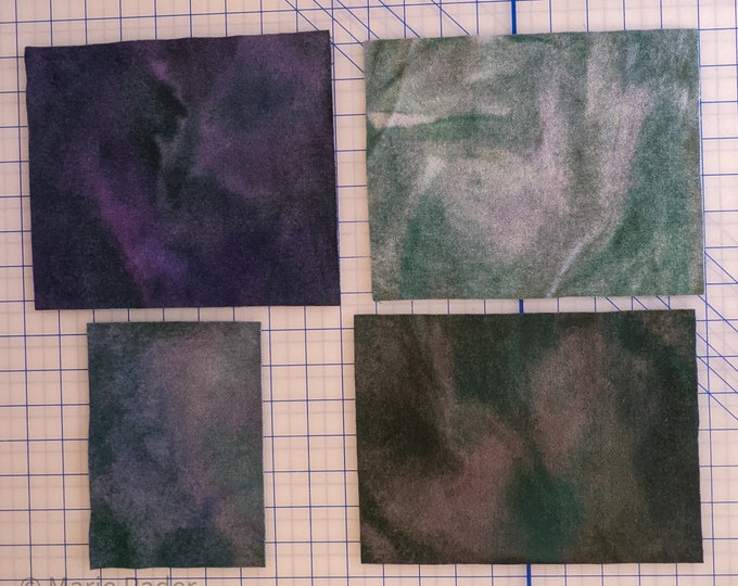 Hand Dyed Felted Wool Fabric with soft colors of Greens Grays Blues Deep Hues of violet and Pink for Quilting Rug Hooking Crafting