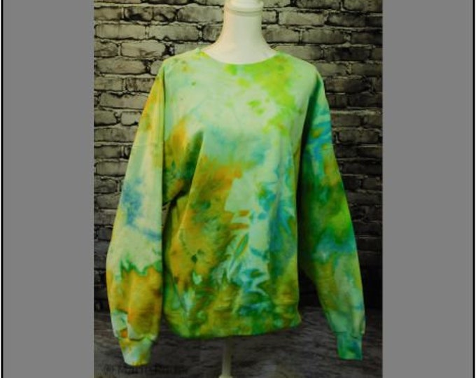 Ice Dyed Pullover Hoodie Bright Golden Yellow, Sun Yellow and Light Turquoise Unisex 2X Original Art