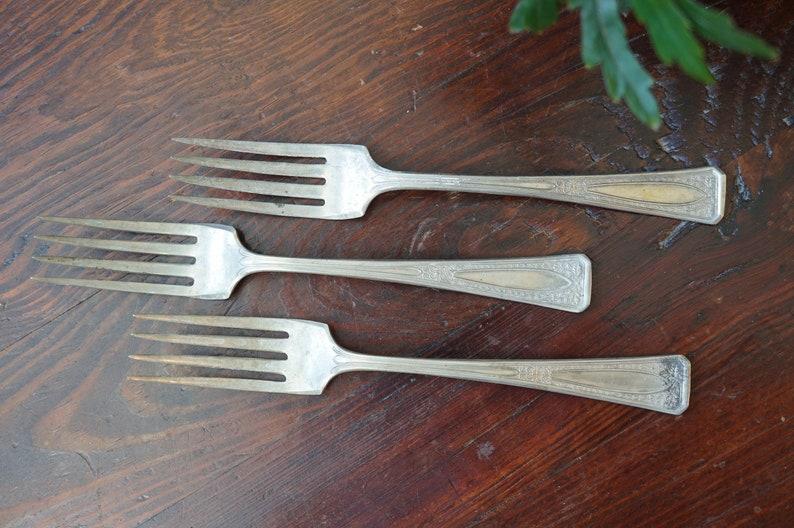 Silver Plate Flatware  3 Nickel Silver Forks  Wedding  Mid Century  Flatware  Serve Ware  Vintage Forks