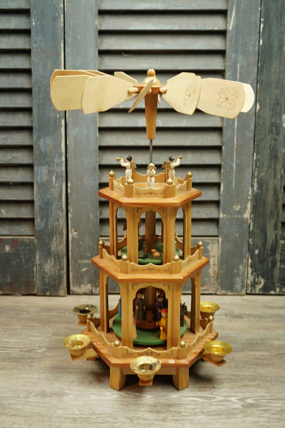 Vintage Christmas Wooden Pyramid, 3 Tiered Wooden Carousel, Hesse Design Bad Aibling, Oberbayern, Germany / Nativity / Holiday