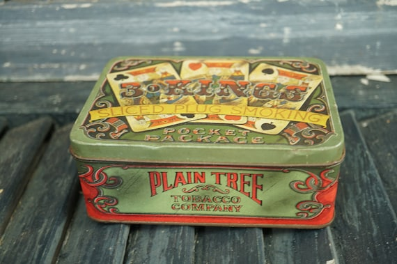 Piper Chewing Tobacco Tin  Vintage Tobacco Tin   Tobacco Advertisement   Mid Century  Nostalgic