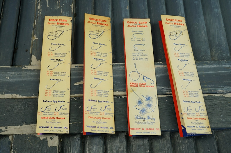 Wright and McGill Vintage Eagle Claw Snelled Hooks  Vintage Fishing Tackle   Camp  Lake House  Cabin  Cottage  Nautical  Beach House