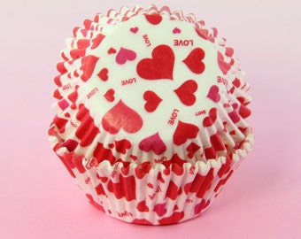 Red and White Cupcake Liners Love Hearts 2'' Standard Size , Baking Cups,