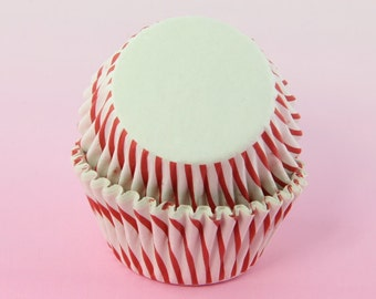 Red Stripes Cupcake Liners 2'' Standard Size , Baking Cups