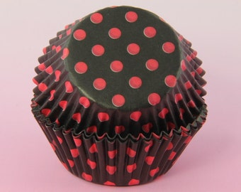 Black and Red Cupcake Liners Polka Dot, 2''  Standard Size , Baking Cups,
