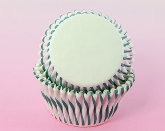 Green Stripes 2'' Standard Size Cupcake Liners, Baking Cups Bulk