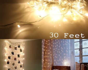 30ft White Color LED Light Strip Christmas Tree House Room Decor Party String Fairy Warm Lamps
