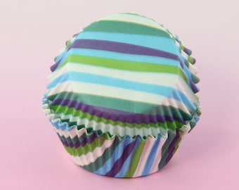 Blue Green White Cupcake Liners Stripes, 2'' Standard Size , Baking Cups