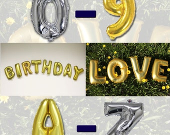 """Customized 14"""" Letter Balloons Gold/Silver Mylar Foil Alphabet A-Z Number 0-9 Balloon"""