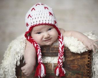 Newborn baseball hat with braids