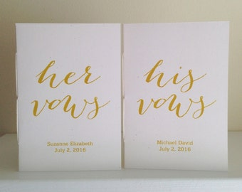 Personalized Vow Book Set of 2 - Personalized Modern Calligraphy Laser Printed In Gold Ink - Wedding Vow Books