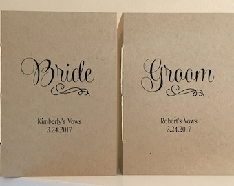Bride and Groom Vow Booklets - Set of Two - Personalized