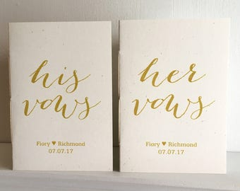 His and Her Wedding Vow Booklets - Set of Two