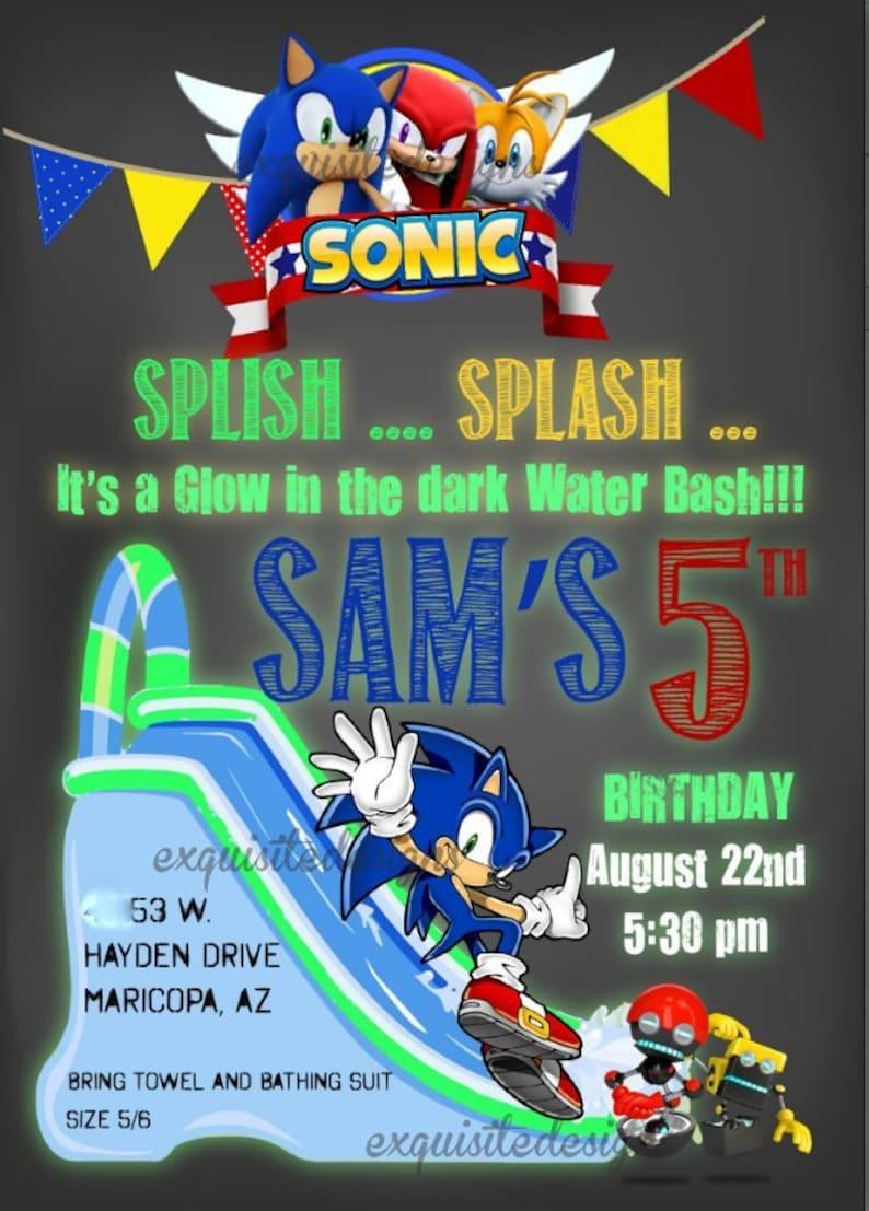 Sonic Invitations Sonic The Hedgehog Birthday Invites Etsy