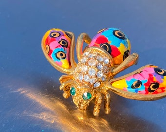 Joan Rivers signed brooch-colourful jewelry brooch-vintage gold bee brooch