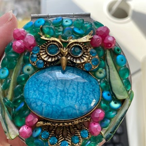 Owl Compact Mirror-Owl Mirror-Embellished Mirror-Small Mirror-Mosaic Mirror-Recycled Compact Mirror by Ashley3535 Compact Mirror