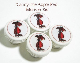 Kids Decorative Knobs Featuring 'Candy' the Red Monster Kid. Set of 4 Wooden Knobs for Nursery, Kids Room, or Playroom.  Great New Baby Gift