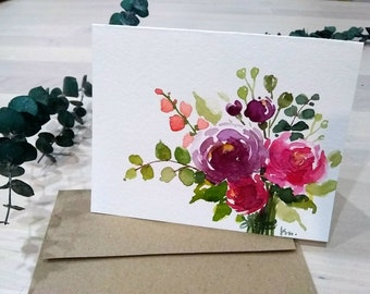 """Original Hand painted Watercolor, purple, magenta, peonies, floral,  Thank you,mother's  day, birthday, blank greeting card 4.25""""x5.5"""""""