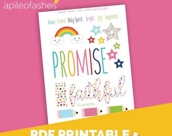 RainbowBright Download Printable Bible Journaling, Margin Stickers, Bookmarks, Sticker Printable
