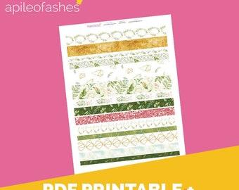 GoldenDreams Washi Printable Bible Journaling, Margin Stickers, Bookmarks, Sticker Printable