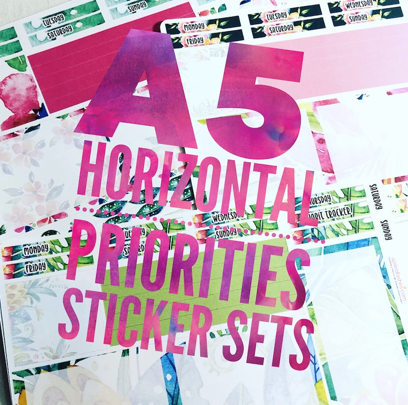 A5 Plum Paper Planner Stickers for Horizontal Priorities image 0