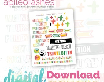 Summer Travel Elements Bible Journaling Printable, Margin Stickers, Bookmarks, Sticker Printable