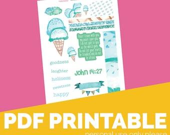 Sweet Cream Printable Bible Journaling, Margin Stickers, Bookmarks, Sticker Printable