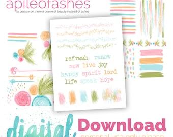 Sweet Spring Digital Download Printable Bible Journaling, Margin Stickers, Bookmarks, Sticker Printable