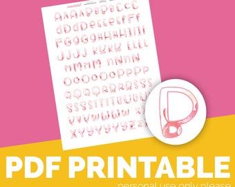 Peony Alpha Printable Bible Journaling, Margin Stickers, Bookmarks, Sticker Printable