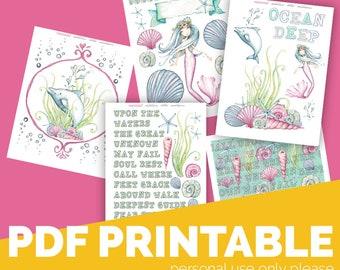 Oceans Download Printable Bible Journaling, Margin Stickers, Bookmarks, Sticker Printable