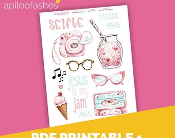 GirlyJam Download Printable Bible Journaling, Margin Stickers, Bookmarks, Sticker Printable