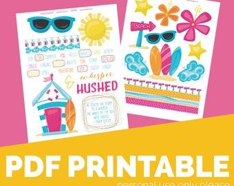 Waves Printable Bible Journaling, Margin Stickers, Bookmarks, Sticker Printable