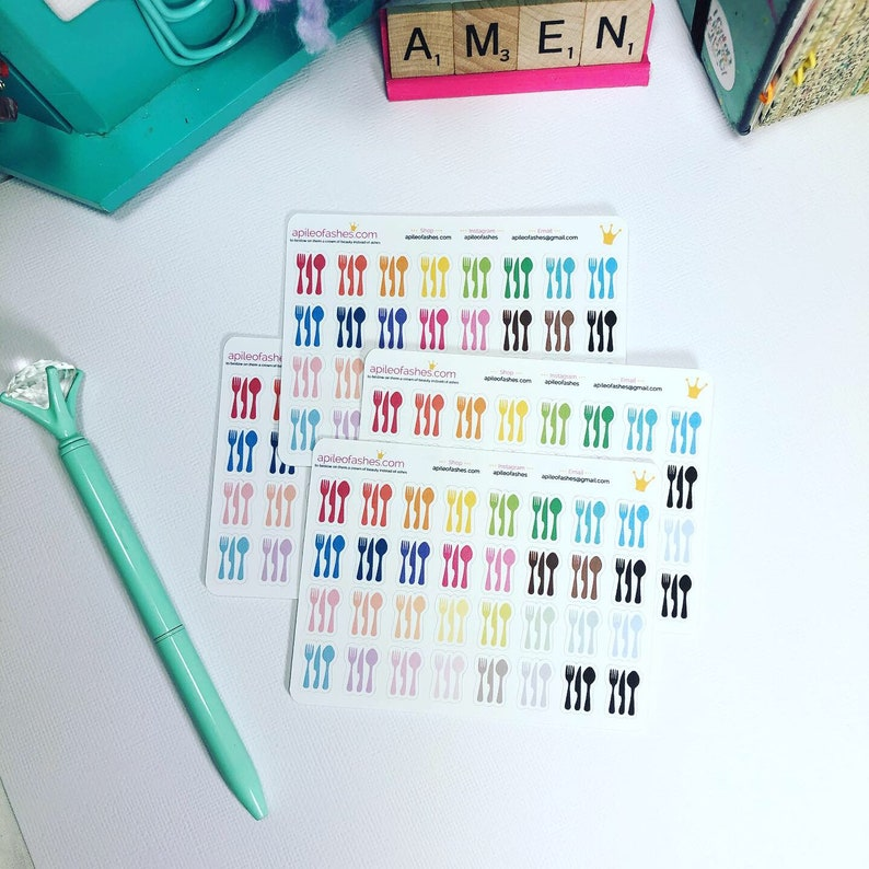 Meal Planner Stickers Silverware Cutlery Dinner Planner image 0