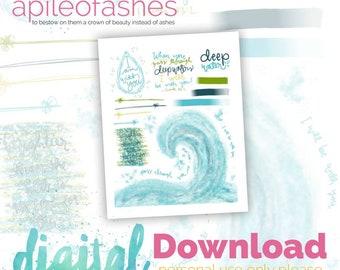 Deep Water Digital Download Printable Bible Journaling, Margin Stickers, Bookmarks, Sticker Printable