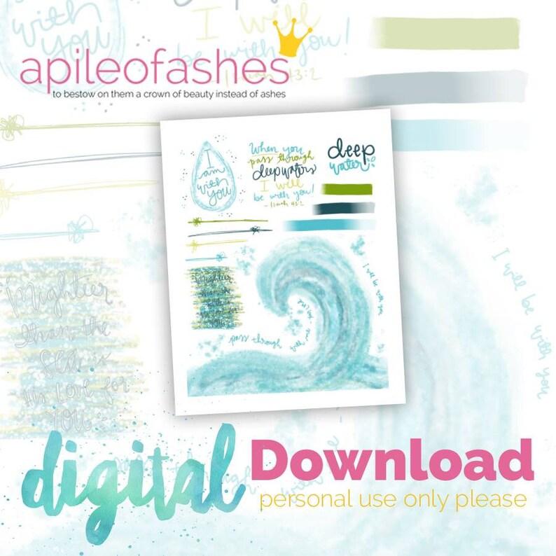 Deep Water Digital Download Printable Bible Journaling Margin image 0