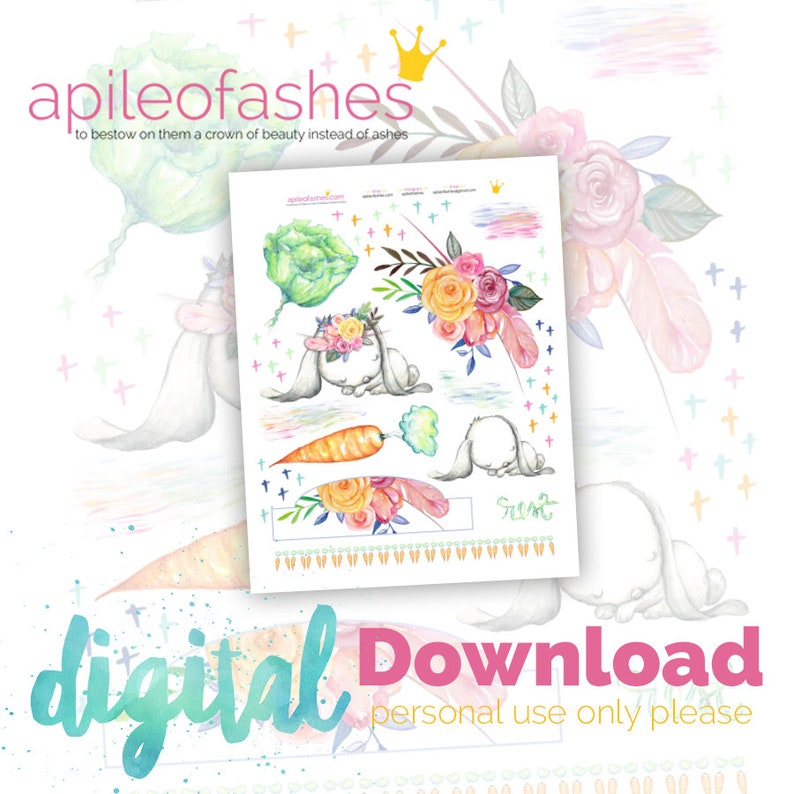 Sleepy Bunny Bible Journaling Digital Download Printable image 0