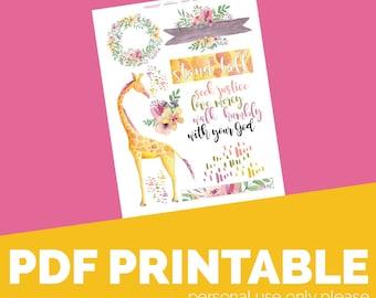 Micah 6 Printable Bible Journaling, Margin Stickers, Bookmarks, Sticker Printable