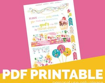 IThess5:16-18 Printable Bible Journaling, Margin Stickers, Bookmarks, Sticker Printable