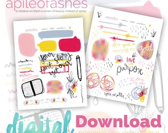Story Digital Download Printable Bible Journaling, Margin Stickers, Bookmarks, Sticker Printable